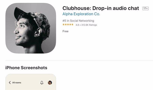 Clubhouse en la App Store.