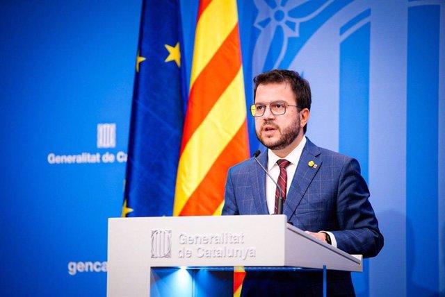 El vicepresidente en funciones de presidente de la Generalitat, Pere Aragonès.