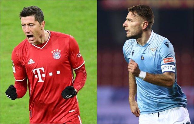 Archivo - El delantero del Bayern Múnich Robert Lewandowski y el de la Lazio Ciro Immobile