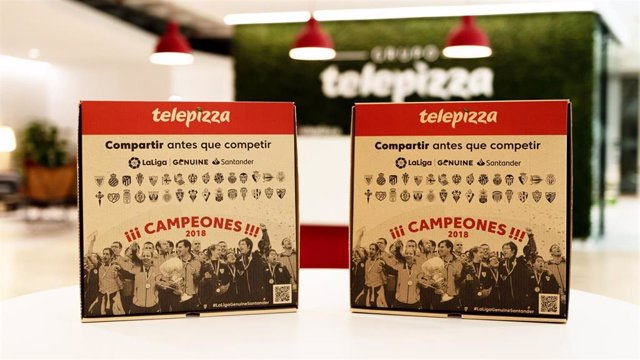 Archivo - Cajas Solidarias de Telepizza con la imagen de LaLiga Genuine Santander
