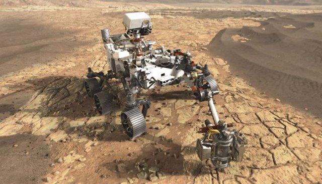 Ilustración artística del rover Perseverance en Marte