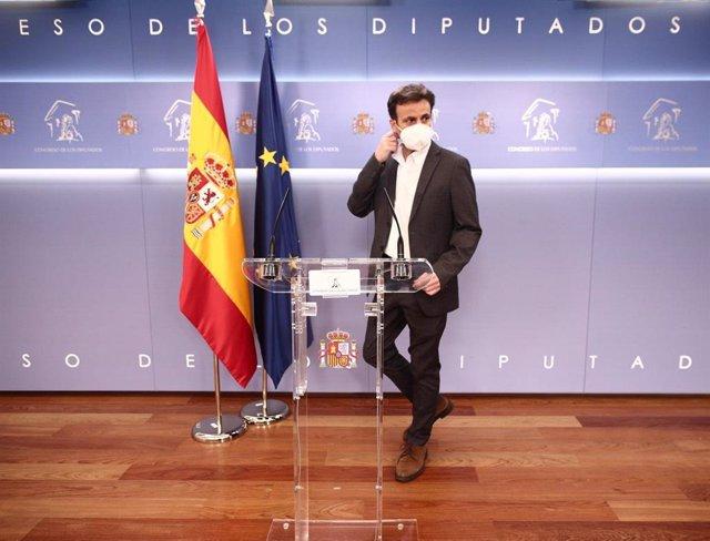 El president d'Unides Podem al Congrés, Jaume Asens, en una roda de premsa.