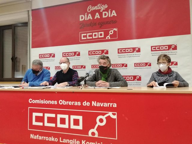 Alfredo Sanz, Manuel Vázquez, Chechu Rodríguez y María Jesús Subiza, de CCOO de Navarra