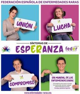La campaña de FEDER por el Día Mundial de las Enfermedades Raras tiene como protagonista de su cartel a Sara, una joven de 14 años de Madrid con ataxia telangiectasia. También aparecen Adriana Ugarte, Christian Gálvez y un representante otra asociación.
