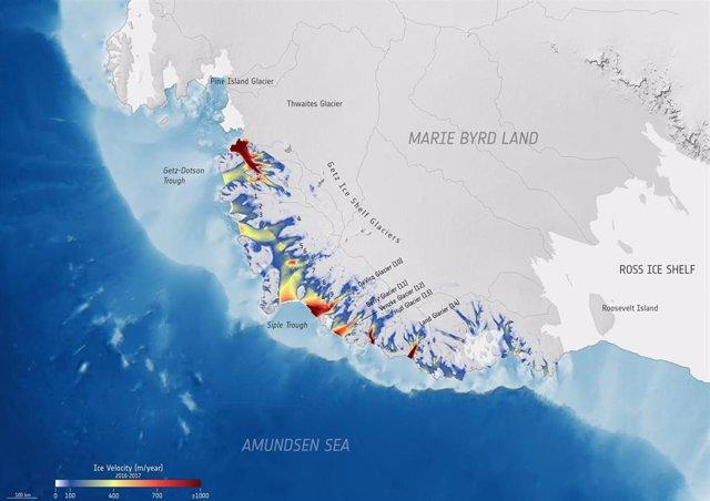 Velocidad de los glaciares en la región antártica de Getz