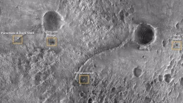 Ubicación del sistema de aterrizaje del rover Perseverance