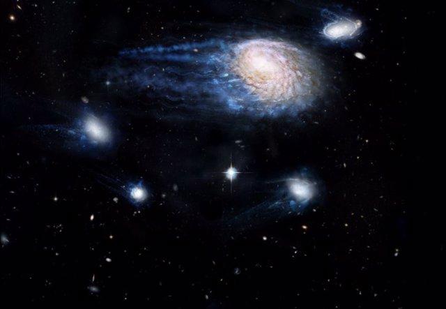 Impresión de un artista que muestra el efecto creciente de la extracción por presión de ariete para eliminar el gas de las galaxias, enviándolas a una muerte prematura.