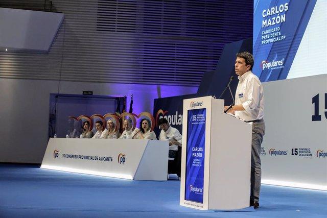 Archivo - El nuevo presidente del PP de la provincia de Alicante, Carlos Mazón, interviene en el acto donde ha logrado el 98% de los votos