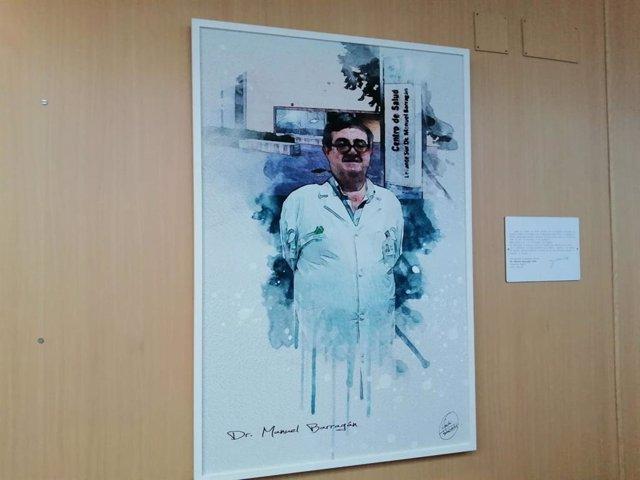 El retrato de Manuel Barragán, médico de familia del centro de Salud Levante Sur que lleva su nombre.