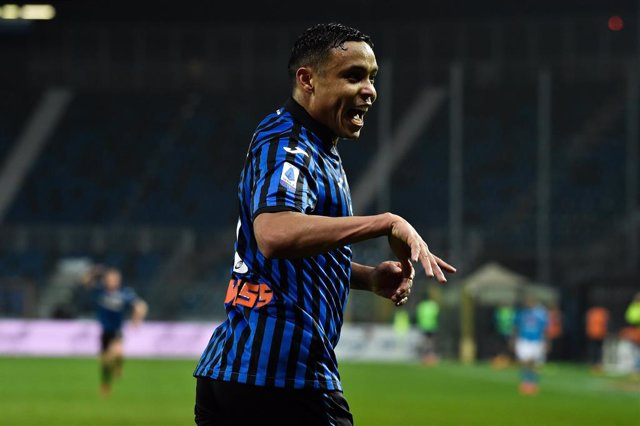 21 February 2021, Italy, Bergamo: Atalanta's Luis Muriel celebrates scoring his side's third goal during the Italian Serie A soccer match between Atalanta BS and SSC Napoli at Gewiss Stadium. Photo: Gianluca Checchi/LaPresse via ZUMA Press/dpa