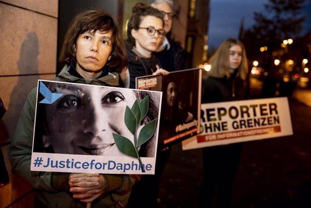 Archivo - Manifestación por el asesinato de Daphne Caruana Galizia
