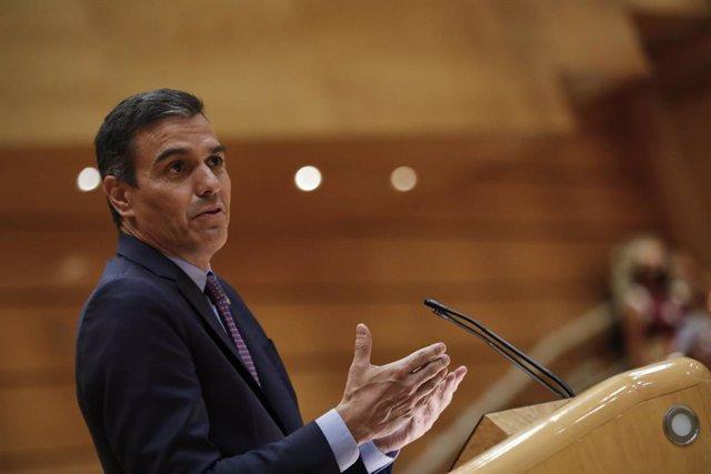 Archivo - Arxiu - El president del Govern espanyol, Pedro Sánchez, compareix al ple del Senat. Madrid (Espanya), 8 de setembre del 2020.