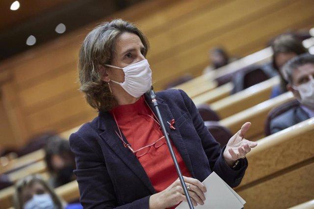 Archivo - Las vicepresidenta cuarta y ministra de Transición Ecológica, Teresa Ribera, interviene durante una sesión de control al Gobierno en el Senado, en Madrid (España), a 1 de diciembre de 2020.
