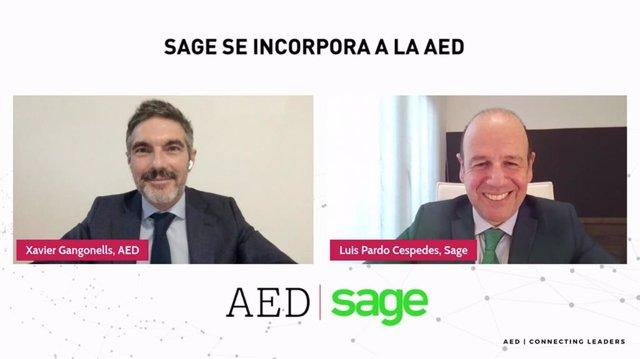 El ceo de Sage para España y Portugal, Luis Pardo, y el director general de la Asociación Española de Directivos (AED), Xavier Gangonells
