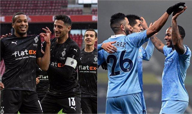 Archivo - Borussia Mönchengladbach y Manchester City se enfrentan en Budapest en la ida de los octavos de final de la Liga de Campeones