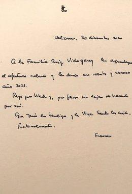 Carta del papa Francisco dirigida a un matrimonio valenciano
