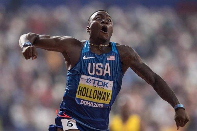 Archivo - Grant Holloway celebra su oro en los Mundiales de Doha de 2019