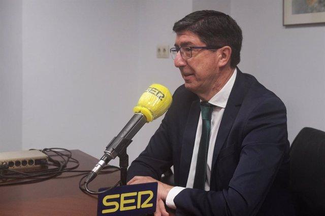Archivo - El vicepresidente de la Junta y consejero, Juan Marín, en una imagen de archivo durante una entrevista con la Cadena Ser.