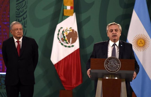 El presidente de Argentina, Alberto Fernández, en su visita oficial a México, donde se ha reunido con su homólogo, Andrés Manuel López Obrador.
