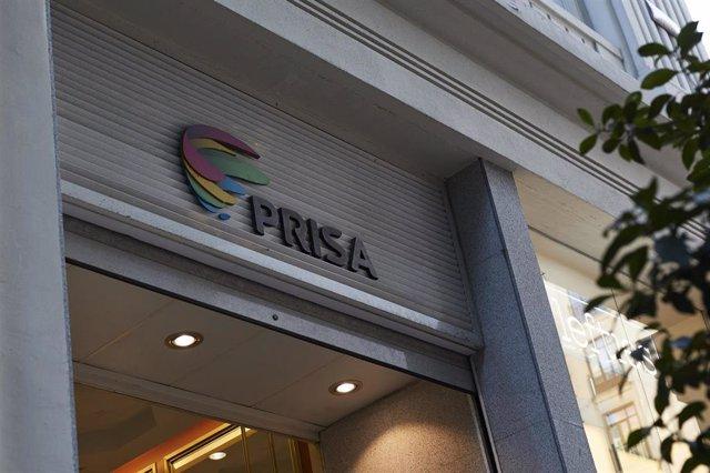 Archivo - Logo de Grupo Prisa en domicilio Social, en la Gran Vía, 32 de Madrid (España)