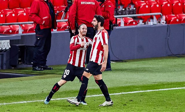 Raul Garcia of Athletic Club celebrating his goal with Iker Muniain of Athletic Club during the Spanish league, La Liga Santander, football match played between Athletic Club and Getafe CF at San Mames stadium on January 25, 2021 in Bilbao, Spain.