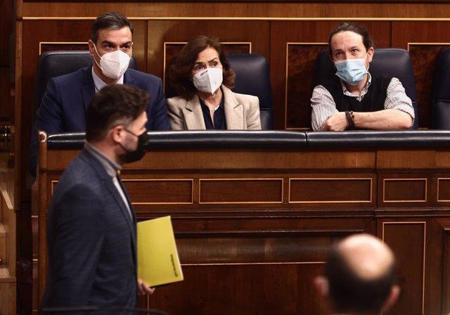 El portaveu d'ERC al Congrés, Gabriel Rufián, en una sessió de control al Congrés dels Diputats.