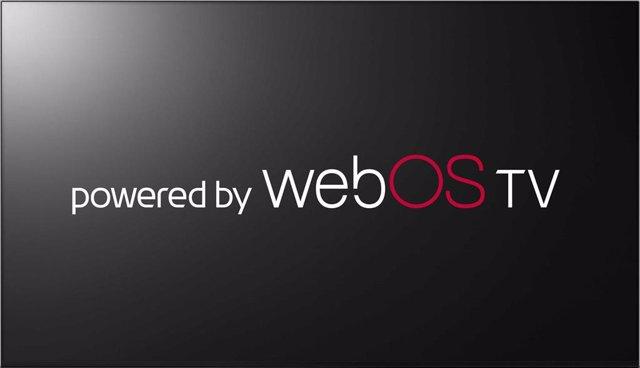 Logo del sistema operativo webOS de LG para televisores.