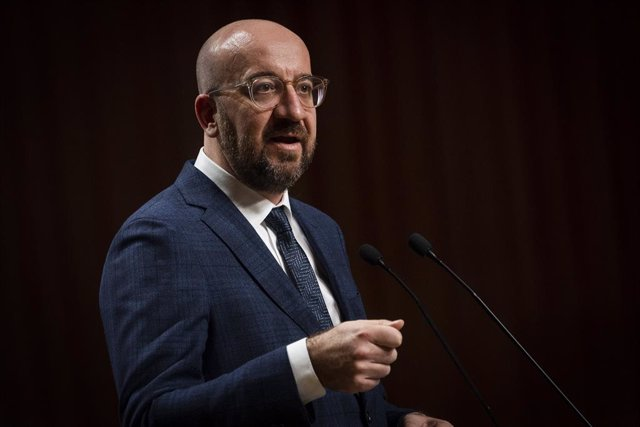 17 February 2021, Poland, Krakow: Charles Michel, President of the European Council, speaks during a joint press conference after a meeting with the Visegrad cooperation (V4 group) leaders during the 30th anniversary of Visegrad cooperation at Wawel Castl