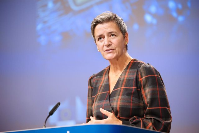 Archivo - HANDOUT - 07 October 2020, Belgium, Brussels: Executive Vice President of the European Commission Margrethe Vestager speaks during an online press conference at the European Commission headquarters. Photo: Claudio Centonze/European Commission/dp