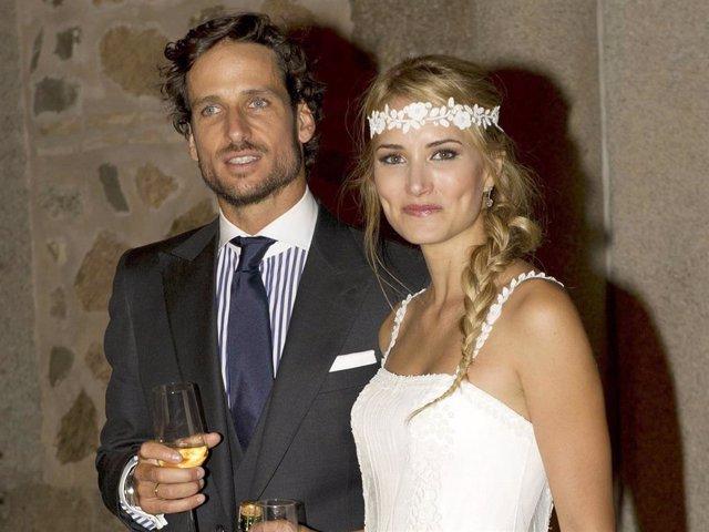 Archivo - Alba Carrillo y Feliciano López el día de su boda