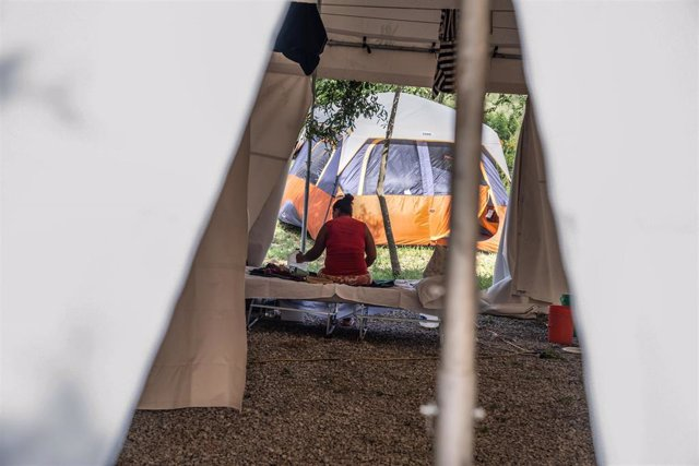 Archivo - Campamento de migrantes en Matamoros, México