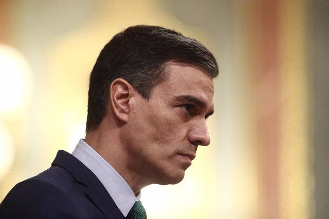 El president del Govern espanyol, Pedro Sánchez, en una sessió de control al Congrés dels Diputats. Madrid (Espanya), 24 de febrer del 2021.