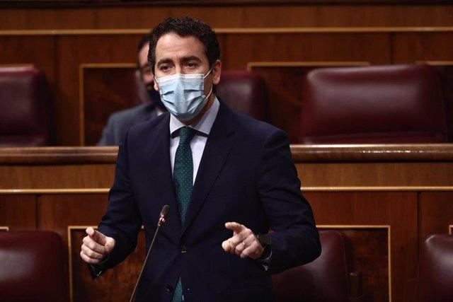 El secretario general del Partido Popular, Teodoro García Egea, inteviene durante la primera sesión de control al Gobierno de 2021 celebrada en el Congreso de los Diputados, en Madrid, (España), a 3 de febrero de 2021. Esta primera sesión de control estar
