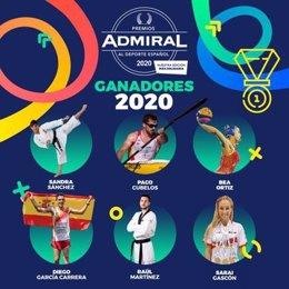 Cartel con los ganadores de los Premios Admiral del Deporte 2020