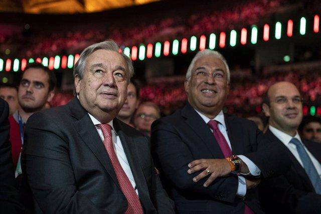 El secretario general de la ONU, António Guterres, y el primer ministro de Portugal, António Costa, en una imagen de archivo durante el Web Summit 2018 de Lisboa.