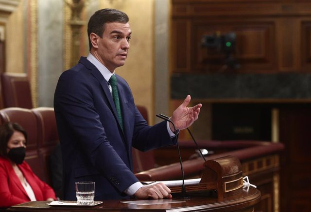 El president del Govern espanyol, Pedro Sánchez, en una sessió de control al Congrés dels Diputats. Madrid (Espanya), 24 de febrer del 2021
