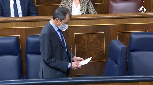 El ministro de Ciencia e Innovación, Pedro Duque, en el Pleno del Congreso de este miércoles