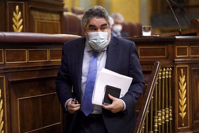 Archivo - El ministro de Cultura y Deporte, Jose Manuel Rodríguez Uribes, durante una sesión plenaria en el Congreso de los Diputados.