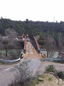 Avance de los trabajos del puente de Santa Eulalia de Gállego que se reabrirá este viernes