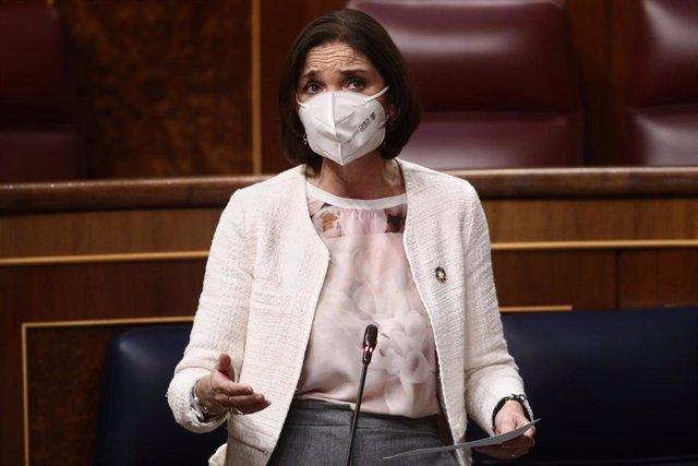 La ministra de Industria, Comercio y Turismo, Reyes Maroto, interviene durante una sesión de Control al Gobierno en el Congreso de los Diputados, en Madrid, (España), a 24 de febrero de 2021.