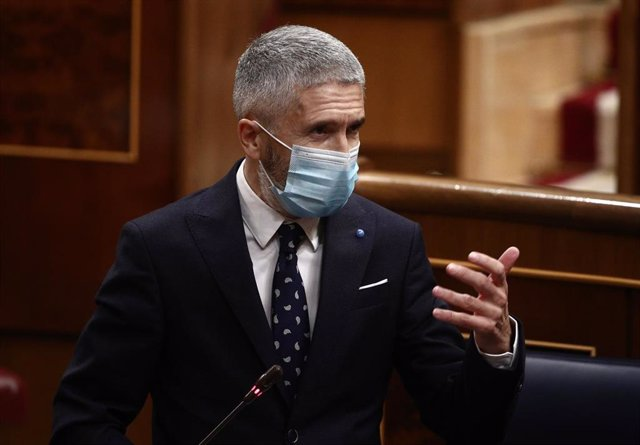 El ministro de Interior, Fernando Grande-Marlaska, interviene durante la sesión de control en el Congreso