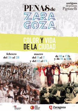 """Cartel de la exposición """"Peñas de Zaragoza. Color y vida de la ciudad"""""""