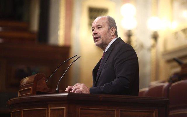 Archivo - Arxiu - El ministre de Justícia, Juan Carlos Campo, al Congrés dels Diputats.