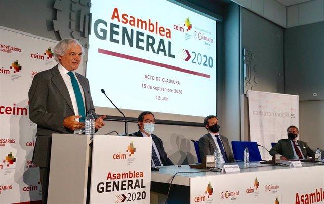 Archivo - El presidente de CEIM, Miguel Garrido, en la Asamblea General de CEIM