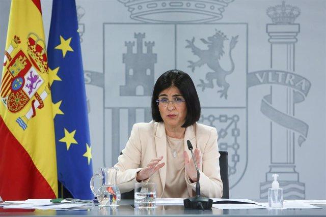 La ministra de Sanidad, Carolina Darias, ofrece una rueda de prensa tras la reunión del Consejo Interterritorial del Sistema Nacional de Salud en el complejo de la Moncloa, Madrid, (España), a 24 de febrero de 2021.