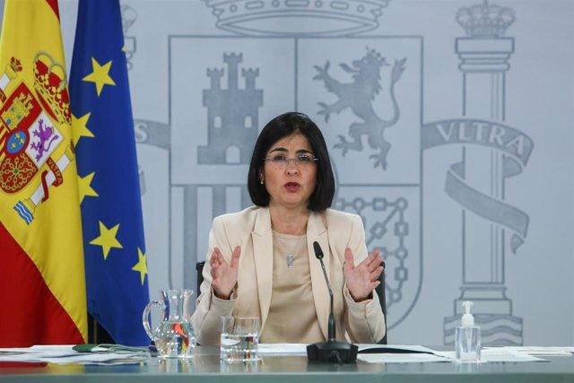 La ministra de Sanidad, Carolina Darias, en rueda de prensa