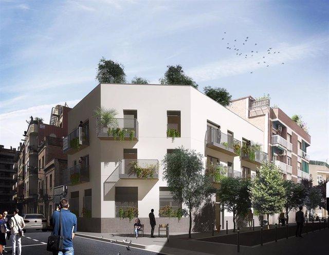 Renta Corporación y 011h construyen un edificio industrializado y sostenible en Hospitalet (Barcelona)