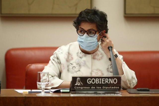 La ministra de Asuntos Exteriores, Arancha González Laya, durante una Comisión de Asuntos Exteriores en el Congreso de los Diputados, en Madrid, (España), a 18 de febrero de 2021. La ministra utilizará la sesión para presentar la Estrategia de Acción Exte