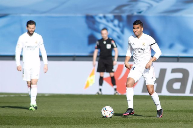 Carlos Henrique Casemiro of Real Madrid in action during the spanish league, La Liga, football match played between Real Madrid and Valencia CF at Ciudad Deportiva Real Madrid on february 14, 2021, in Valdebebas, Madrid, Spain.