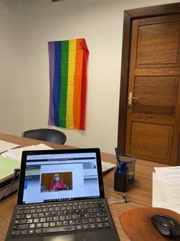 Imagen de archivo, del 19 de febrero, de la bandera arcoiris que simboliza al colectivo Lgtbi y lucía en las dependencias de los diputados no adscritos expulsados de Adelante Andalucía.